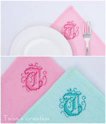 Monogrammed Napkins with T by Taisa-Winged