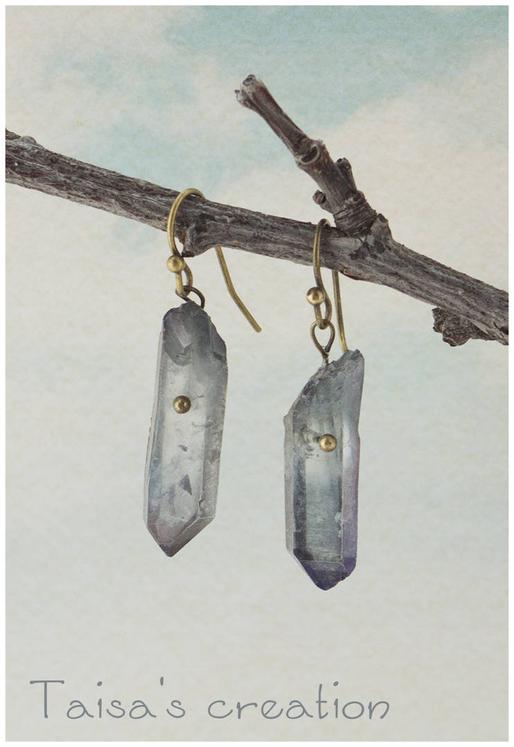 Minimalistic Natural Crystal Earrings by Taisa-Winged