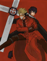 Vash and wolfwood colored by noctipatronus