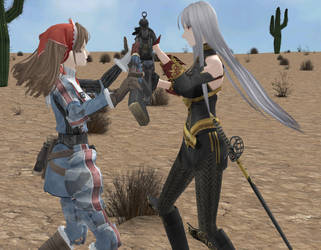 One V one duel in the desert by kattchaner