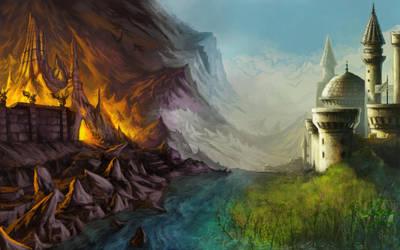 Fantasy Landscape by rainerpetterart