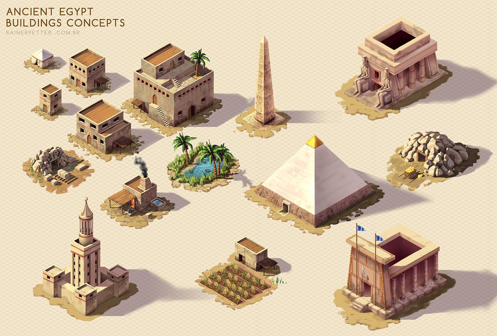 Ancient Egypt - Buildings concepts by rainerpetterart