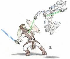 Gungan Jedi Sparring by J-Ian-Gordon