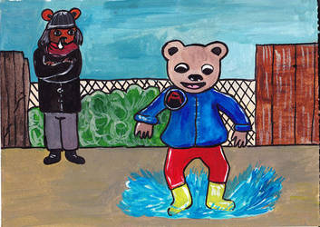 Nephew Bear Jumping in puddles by lostempress23