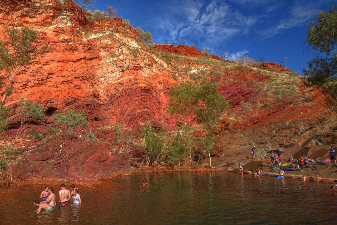 Swimming in Hamersley Gorge by Wedge009