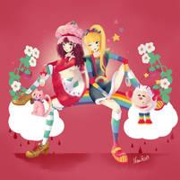 Strawberry shortcake and Rainbow Brite by Sugar-Nami