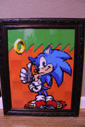 Sonic The Hedgehog Perler Framed by Tony009