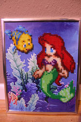 The Little Mermaid and Flounder Perler Framed by Tony009