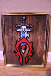 Horde Symbol and Frostmourne Perler Framed by Tony009
