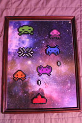Space Invaders Battle Perler Framed by Tony009