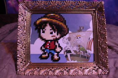 Luffy King of Pirates One Piece Perler Framed by Tony009