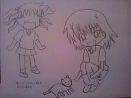 Kuroko, Misaka y un neko by Drawmanex