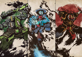 Dota 2 Three Spirits - Earth, Storm and Ember by ChaosRaymond