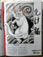Inktober 1 Bakeneko by yo-sociopath
