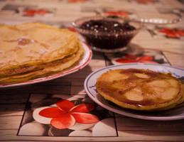 Pancakes with Strawberry Jam by mada-chan-michiyo