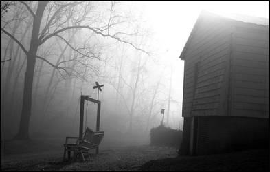 Garage In Fog I by GorgonFloorman