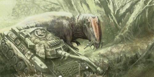 Giganotosaurus vs Tank by Rodrigo-Vega