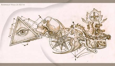 Chest and Shoulder Tattoo Design by Rodrigo-Vega