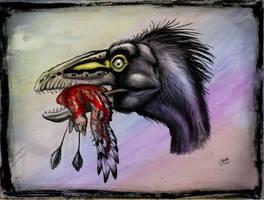 Sinocalliopteryx gigas  eat Confuciusornis by MALvit