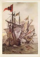 Old Illustration: PIRATE Claes Compaen ATTACKS by James-B-Roger