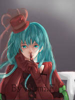 Miku in red  by LumiFrost