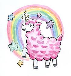 Rainbow Llama by duckgobananas