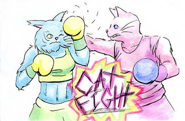 Cat Fight by duckgobananas