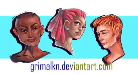 Head Sketches by grimalkn