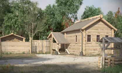 Wooden house somewhere in Russia x3 by arumyantsev