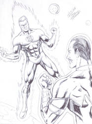 Green Lantern and Sinestro, done only with bic pen by TIAGO-FERNANDES