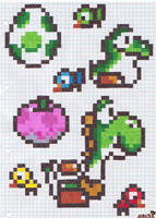 Yoshi on checkered paper by Lobsterprince