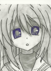 Tomoyo (Clannad) Pencil Drawing (Updated) by 717thartist
