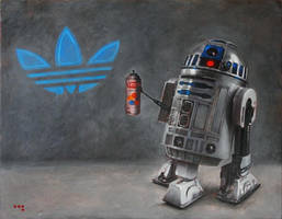 R2-D2 X Adidas 30 x 24 inches Oil on Canvas 2010 by Duncanmattocks