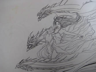 Daenerys con draghi by ProcioneDisegnatore