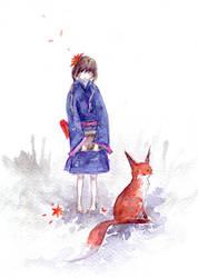 girl and fox by furiouskitten