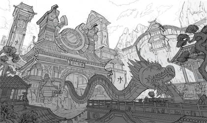 Water Dragon Temple Concept by fluffycatfish