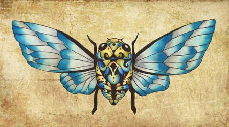Cicada Dream Blue Glass  by tanyadavisart