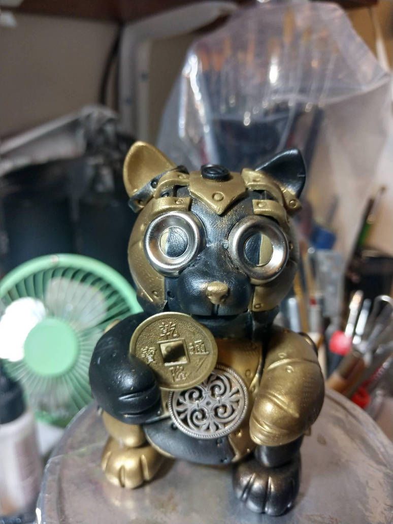 Gold Steampunk Kitteh by tanyadavisart