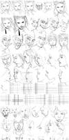 100 Sketch Challenge In 1 Day - Faces - Round #002 by anime-master-96