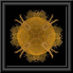 Golden Fractal In 3d Glass Frame by whoami911