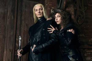 Bellatrix Lestrange and Lucius Malfoy by zstedjas