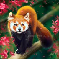 Cherry Red Panda - SpeedPaint by GoldenDruid