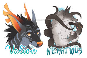 Flat Color Badges for Nematious by GoldenDruid