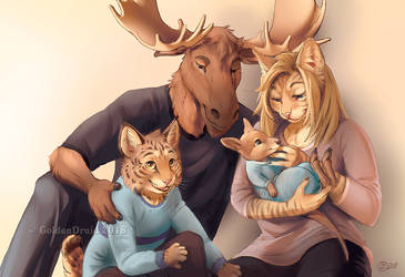 Moose Family Portrait - Art by the Hour by GoldenDruid