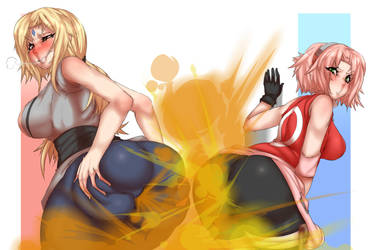 REQUEST: Tsunade and Sakura's Fart Off by Lazei