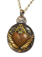 Flying steam heart pendant by JLHilton