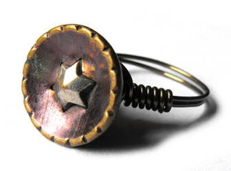Antique button wire ring by JLHilton