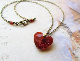 Red Magma Swarovski Crystal Heart Necklace by JLHilton