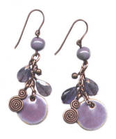 Purple ceramic and iolite earrings by JLHilton