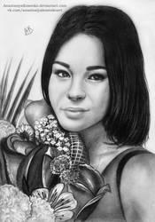 Commission - Girl with flowers by AnastasiyaKosenko